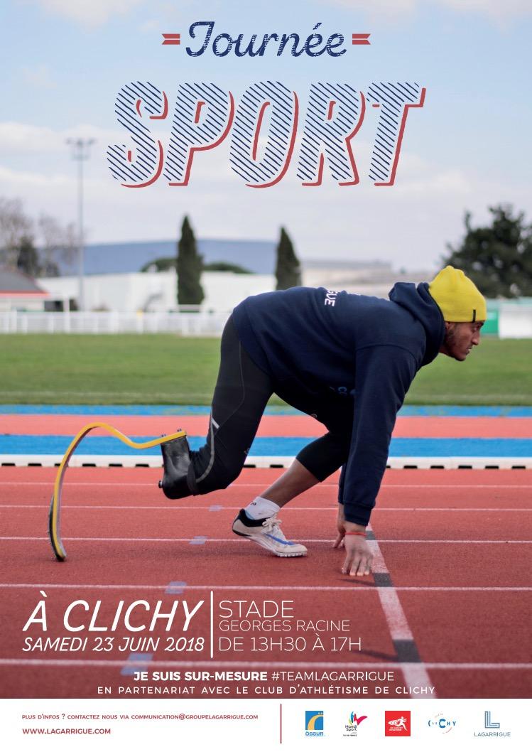 Démonstration de lames carbones de la société Laguarrigue en partenariat avec le club athlétisme de Clichy