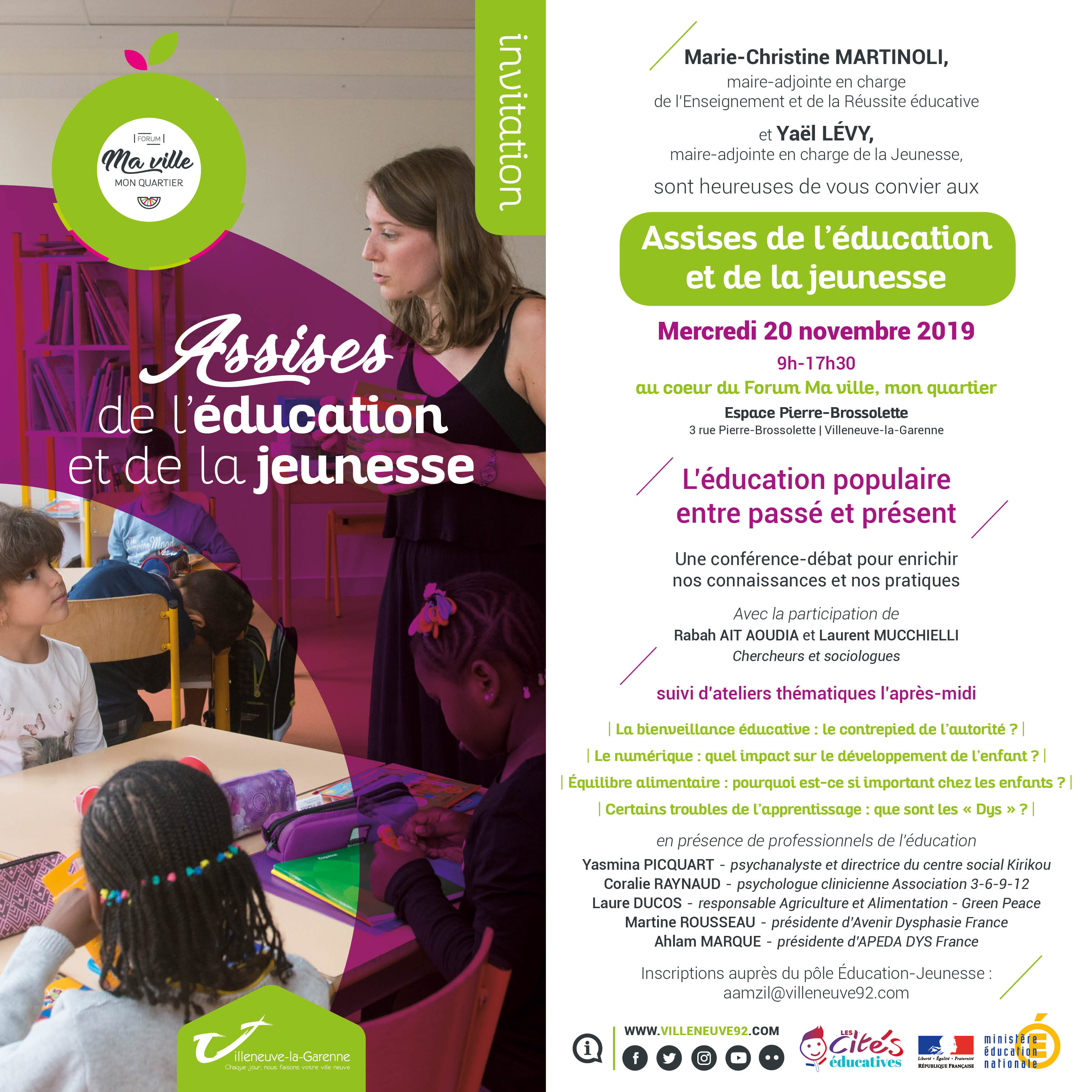 INVITATION ASSISES EDUCATION JEUNESSE professionnels